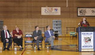 State Assembly District 21 candidate Ellen Spiegel (right) addresses a question from the moderator as other candidates look on during a public forum held at Bob Miller Middle School on Tuesday.