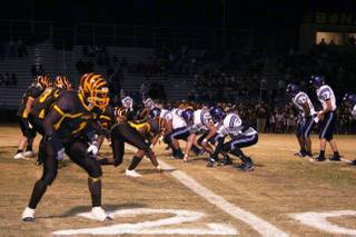 The Bonanza defensive line sets up to take on the Durango offense during Friday night's homecoming matchup.