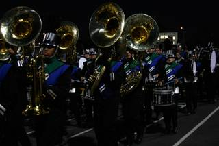 The Green Valley marching band enters the stadium in preparation for Friday's homecoming game against Liberty.