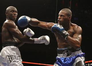 Chad Dawson connects on IBF light heavyweight champion Antonio Tarver during their title fight at the Palms Saturday October 11, 2008. Dawson scored a 12-round unanimous decision.