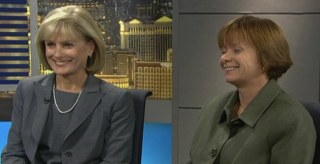 "Supreme Court candidates Kris Pickering, right, and Deborah Schumacher, recently debated on Jon Ralston's ""Face to Face"" political news show on Cox Cable Channel 8."