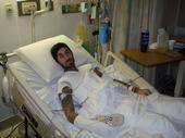 A hospitalized Travis Barker.
