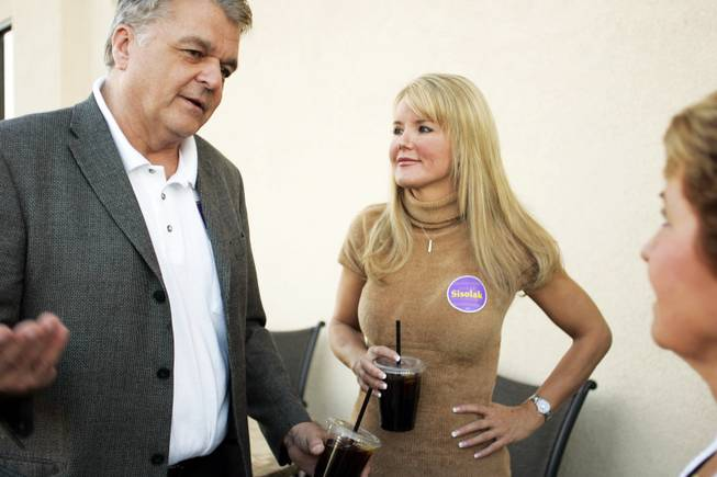 Clark County Commission District A candidate Steve Sisolak talks with supporters with his then-girlfriend Kathleen Vermillion during a political mixer at the Pizza Caffe in Henderson Tuesday, October 14, 2008.