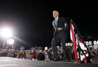 Sen. Joe Biden takes the stage at a rally Friday at Henderson's Morrell Park.