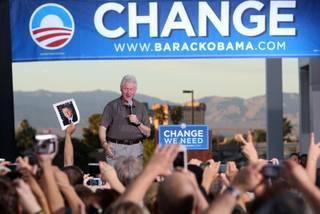 Former President Bill Clinton speaks on behalf of Democratic presidential nominee Barack Obama during a rally at Chaparral High School Sunday Oct. 19, 2008.
