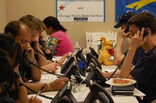 Volunteers at the McCain-Palin headquarters in Henderson make phone calls to local constituents during the 2008 campaign.