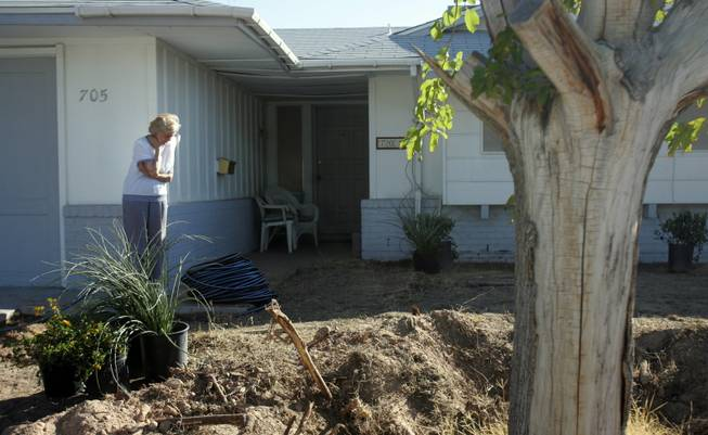 "Janice Milton, 90, watches as landscapers renovate her yard. The Nevada State Contractors Board and the Nevada Landscape Association selected Milton as one of the two winners for the ""Operation Green"" yard makeover program."