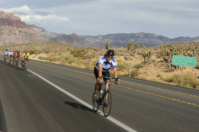 The road to a bike path at Red Rock Canyon - Las Vegas Sun