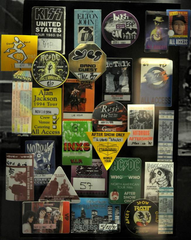 A collage of ticket stubs line the hallway of the Thomas & Mack Center, showing the variation of musical acts that have performed in the 25-year-old arena.