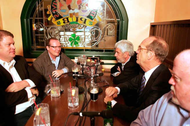 Josh Griffin, clockwise from left, former Republican Assemblyman and lobbyist; Steve Wark, Republican political consultant; Billy Vassiliadis, adviser to the campaign of Barack Obama; Mike Sloan, former state senator, now a gaming consultant; and Dan Hart, political consultant to the state teachers union, talk during a post-election political round table at Three Angry  Wives Pub in Summerlin.