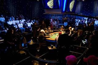 A look at the scene of the final table of the World Series of Poker's main event being held inside the Penn & Teller Theater at the Rio in Las Vegas, on Sunday night, Nov. 9, 2008.