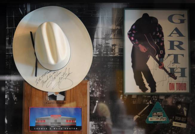 A display inside the Thomas & Mack Center shows off memorabilia from Garth Brooks, including a signed cowboy hat from his record-setting, four night concert series in 1998.