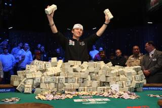 Peter Eastgate of Denmark celebrates after winning the World Series of Poker's main event at the Rio Tuesday, November 11, 2008. Eastgate, 22, defeated Ivan Demidov of Russia to win $9.15 million, while also becoming the youngest champion in the WSOP's 39-year history.