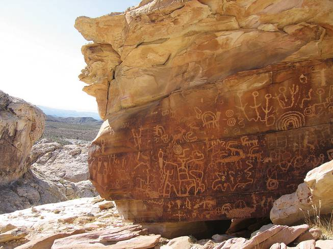 "A petroglyph panel known as ""Newspaper Rock"" is among the areas in Gold Butte, near Mesquite, for which conservationists have pushed legislators to pass protections."