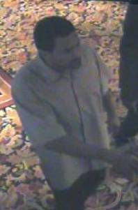 This is a surveillance photo Metrol Police released of the Fitzgerald's hotel and casino robbery suspect. The hotel was robbed about 4 a.m. today, Nov. 13, 2008.