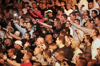 Fans take photos as Randy Couture enters the arena before his heavyweight championship bout against Brock Lesnar at UFC 91 Saturday, November 15, 2008 at the MGM Grand Garden Arena. Lesnar won by TKO in the second round.