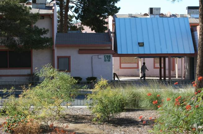 The rundown Casa Rosa apartment complex in North Las Vegas is seen from the North Las Vegas Housing Authority offices on Yale Street.