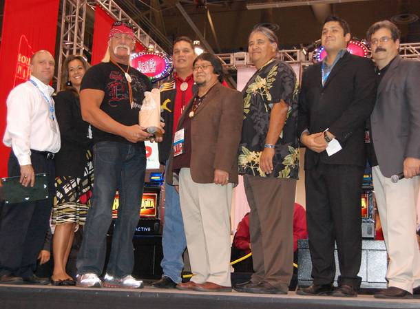 Hulk Hogan was honored with a humanitarian award presented by the National Indian Gaming Association for his work with the Dreamseekers Foundation at Wednesday's Global Gaming Expo.