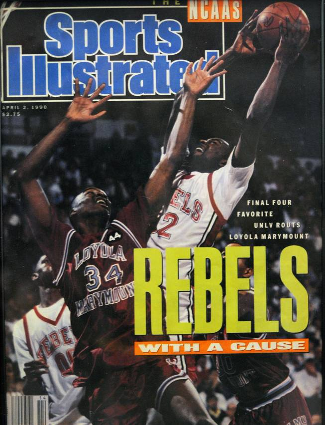 A copy of a 1990 Sports Illustrated cover shows the Rebels' run through the Final Four on its way to an NCAA championship win over Duke.