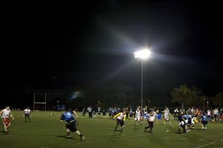 UNLV's ZBT Zeta Beta Tau and CSN's Allstars take to the field at UNLV for the Desert Bowl flag football game on Monday night, Dec. 1, 2008. UNLV won 27-20.