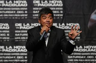 Comedian/actor George Lopez hosts the official weigh-in for boxers Oscar De La Hoya and Manny Pacquiao of the Philippines at the MGM Grand Garden Arena Friday, December 5, 2008.