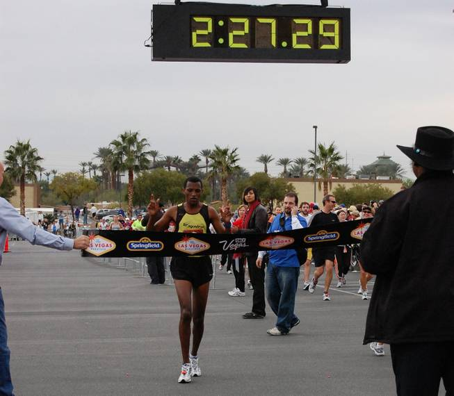 Las Vegas resident Abebe Yimer crosses the finish as the winner of the 2008 Las Vegas Marathon. The 28 year old Ethiopian was the first Clark County resident to ever win the race.