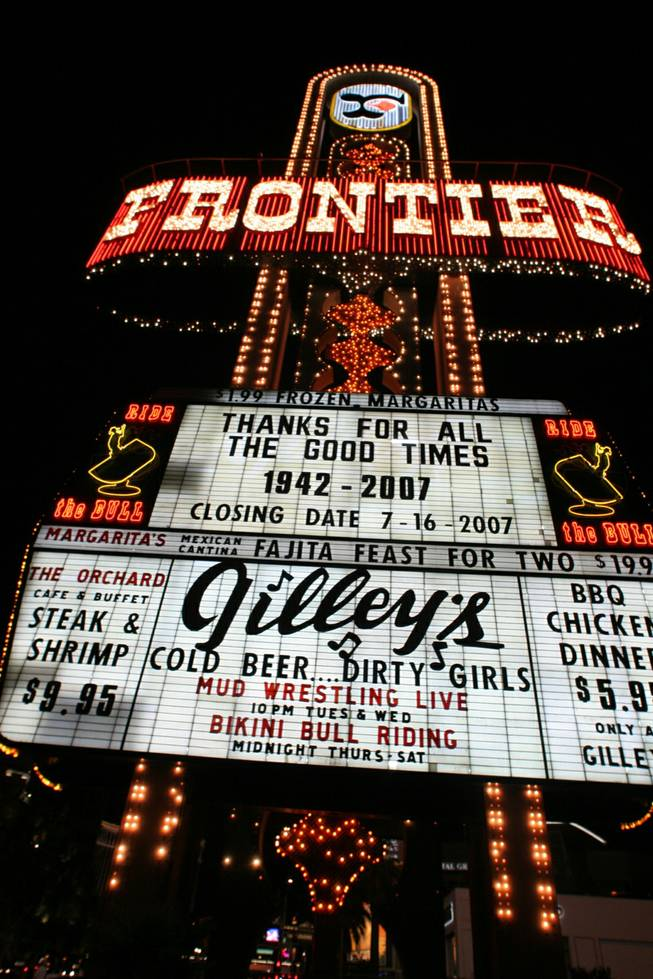 The New Frontier opened on Oct. 30, 1942, and continuously operated until it closed its doors on July 16, 2007, at 12 a.m. This photo was taken in the last few hours the hotel and casino were open.