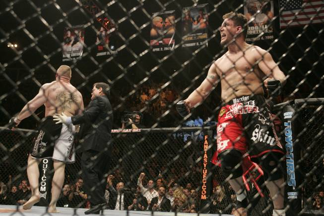 Former UFC heavyweight champion Frank Mir celebrates his first-round victory over Brock Lesnar on Feb. 2, 2008 at UFC 81 at the Mandalay Bay Events Center.