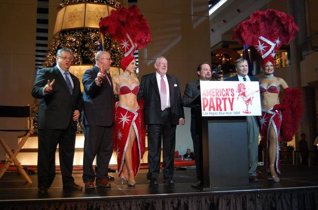 Tourism officials, including Las Vegas Mayor Oscar Goodman, announced plans Tuesday afternoon for celebrations during New Year's Eve on the Strip and downtown.