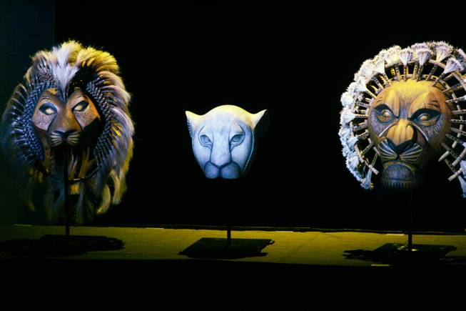 "Masks from ""The Lion King"" are on display during a recent sneak peak at preparations for Disney's full-length production at Mandalay Bay. Previews begin April 22, and opening day is May 2. Disney could bring other productions here if this classic succeeds."