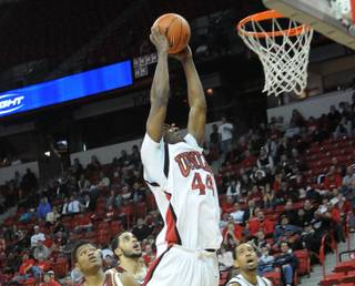 Darris Santee throws down a dunk Wednesday night as UNLV takes on Santa Clara. UNLV won 78-66.