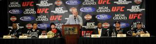 UFC president Dana White introduces the main event fighters for UFC 92 at a press conference Tuesday afternoon at the MGM Grand, site of Saturday's stacked card featuring a light heavyweight title bout between Forrest Griffin and Rashad Evans, as well as an interim title match with Antonio