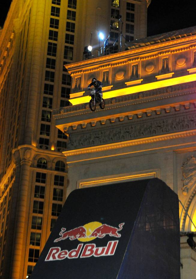 Robbie Maddison jumps off the Arch De Triumph at the Paris Las Vegas on New Year's Eve.