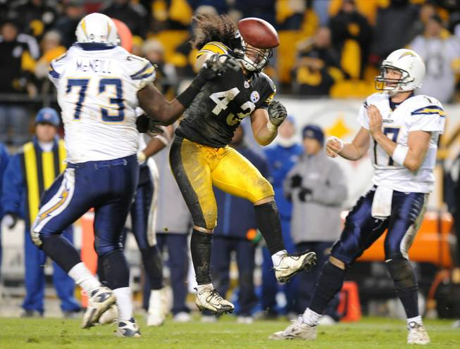 Pittsburgh safety Troy Polamalu (43) breaks up a play against San Diego in this file photo.