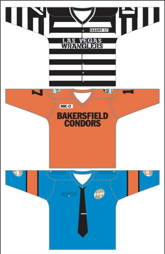 "The jerseys for the Las Vegas Wranglers' ""Rod Blagojevich Prison Uniform Night"" are shown above in this illustration. The Wranglers will face the Bakersfield Condors at the Orleans Arena on Jan. 30 at 7:30 p.m. The Wranglers will wear the black-and-white striped prison style uniforms while the Condors will sport the orange jumpsuit jerseys. The ECHL referees will double as police on the ice."