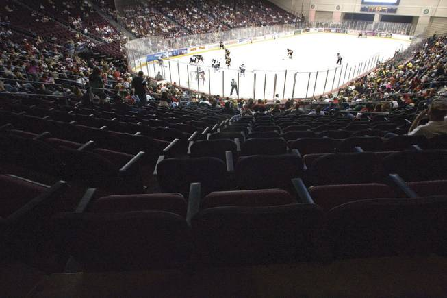 A sparse crowd attends an April 12 playoff game between the Las Vegas Wranglers and the Stockton Thunder at the Orleans Arena.