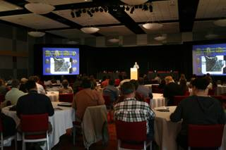 A crowd listens to Wen Baldwin at the UNLV Ballroom for the first Lake Mead Science Symposium Tuesday. Baldwin was presenting new findings on the quagga mussels that have taken over Lake Mead.