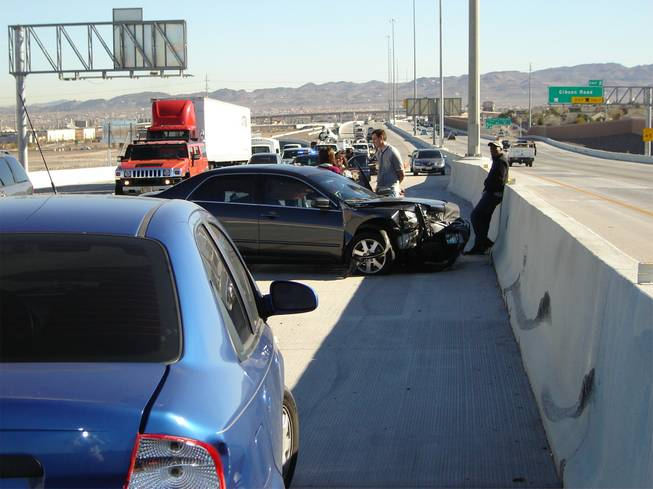 A traffic accident on the 215 Beltway near the Gibson Road on-ramp caused traffic delays for morning commuters.