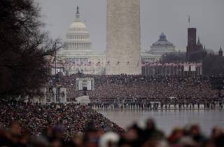 People gather on the National Mall during the