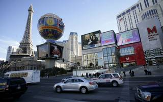 The JumboTron outside Planet Hollywood displayed President Barack Obama's inauguration Tuesday morning on the Las Vegas Strip.