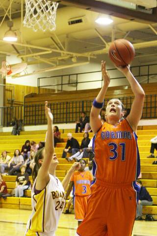 Bishop Gorman center Dannielle Diamant shoots for the basket against the Bengals at Bonanza High School on Tuesday.