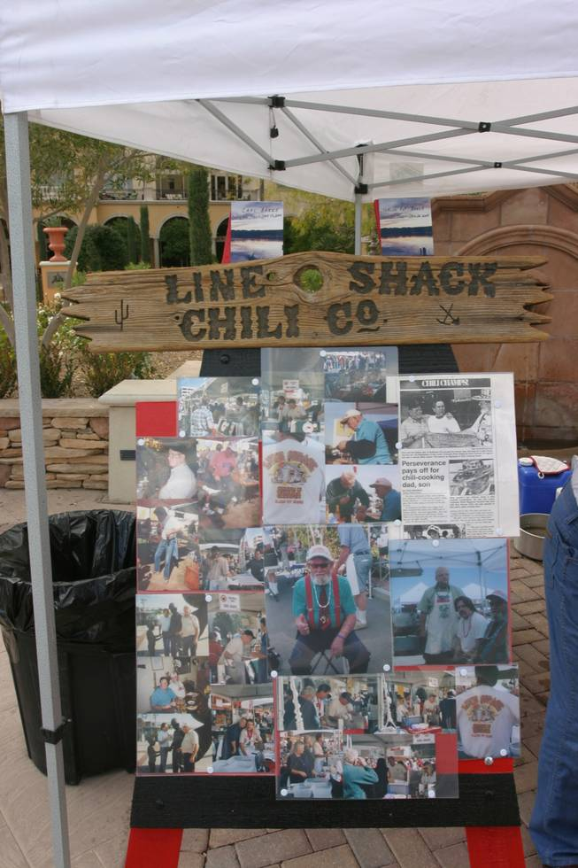 A photo collage shows the history of two now-deceased chili cooking champions, Carl and Pop Baker, whose recipe was brought Saturday to the Sonrisa Grill Inaugural Chili Cook Off at Lake Las Vegas.