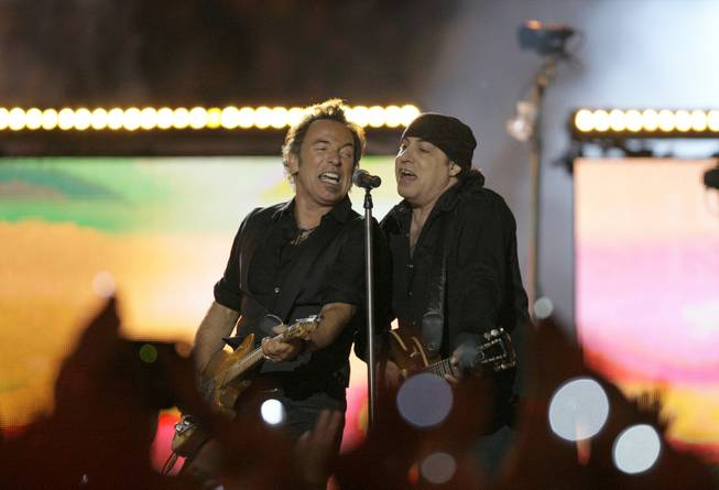 Bruce Springsteen, left, and Steven Van Zandt, of Bruce Springsteen and the E Street Band, perform at halftime at the NFL Super Bowl XLIII football game between the Arizona Cardinals and Pittsburgh Steelers, Sunday, Feb. 1, 2009, in Tampa, Fla.