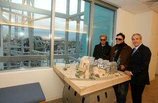 Keep Memory Alive Chairman Larry Ruvo poses with Siegfried & Roy in front of a model of the The Lou Ruvo Brain Institute in February 2009. Ruvo managed the Frontier hotel-casino, while Siegfried & Roy were headliners there.