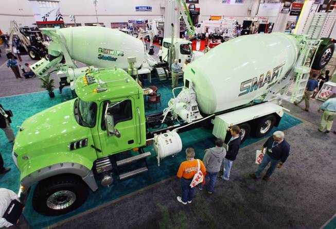 Attendance dries up: Conventiongoers look over a cement truck during the World of Concrete convention at the Las Vegas Convention Center on Feb. 3.
