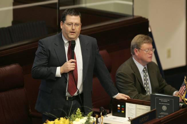 State Sen. Warren Hardy, R-Las Vegas, eulogizes the Logandale Church of Jesus Christ of Latter-day Saints during a Nevada Senate floor session Thursday, Feb. 5, 2009, in Carson City. The church, Southern Nevada's first Mormon church, was destroyed by fire Wednesday.