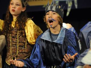 Goolsby Elementary student Ryan Thomas portrays Prince Ice Man of Glacierdom during a student production of