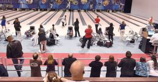 Spectators watch some of the 120 high school student competitors during the annual Clark County high school MVP Bowling Tournament at Cashman Convention Center on Friday.