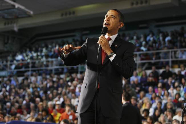 President Barack Obama holds a town hall style meeting about the economic stimulus package Monday at Concord Community High School in Elkhart, Ind.
