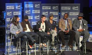 Music industry professionals answer student questions at the first seminar for GRAMMY Career Day at the University of Southern California on Feb. 4. From left; Recording Academy Los Angeles Chapter West coast regional director Lizzy Moore, GRAMMY Award winner Ne-Yo, singer/songwriter Jesse McCartney, singer/songwriter Keri Hilson, head of Urban Music for EMI Music Publishing Big Jon Platt and Recording Academy Chair Jimmy Jam.